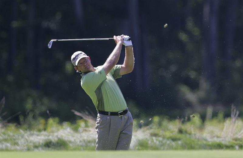 NORTON, MA - SEPTEMBER 04:  Retief Goosen of South Africa plays a shot from the fairway during the first round of the Deutsche Bank Championship at TPC Boston held on September 4, 2009 in Norton, Massachusetts.  (Photo by Michael Cohen/Getty Images)
