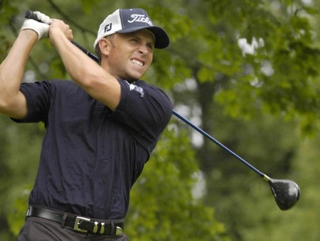 Tim Wilkinson tees off on the third hole during the third round of the Nationwide Tour Xerox Classic in Rochester, New York,  Augu. 20, 2005.Photo by Kevin Rivoli/WireImage.com