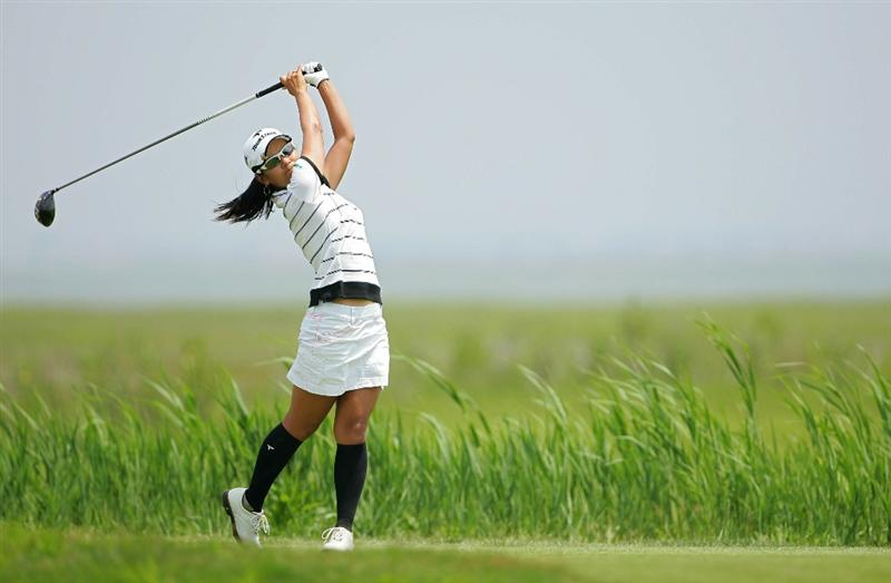 GALLOWAY, NJ - JUNE 20:  Ai Miyazato of Japan hits her drive on the third hole during the final round of the ShopRite LPGA Classic held at Dolce Seaview Resort (Bay Course) on June 20, 2010 in Galloway, New Jersey.  (Photo by Michael Cohen/Getty Images)