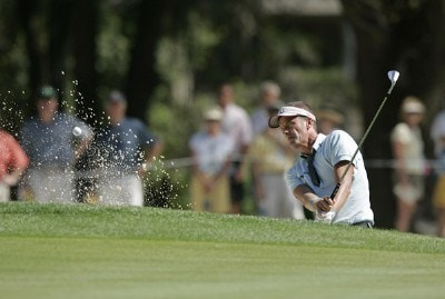 Jesper Parnevik on the 15th hole during the first round of the Verizon Heritage Classic being played at the Harbour Town Golf Links in Hilton Head, South Carolina on April 13, 2006.Photo by Mike Ehrmann/WireImage.com