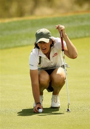 PHOENIX, AZ - MARCH 18:  Juli Inkster sets her ball to putt on the 17th hole during the first round of the RR Donnelley LPGA Founders Cup at Wildfire Golf Club on March 18, 2011 in Phoenix, Arizona.  (Photo by Stephen Dunn/Getty Images)