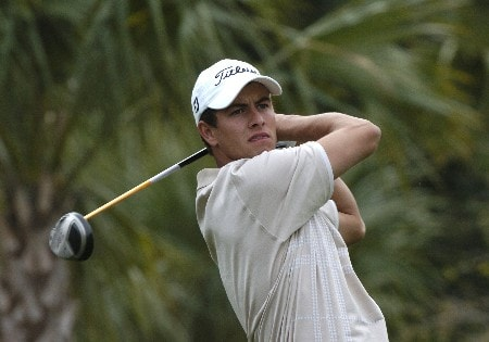 Adam Scott tees off during first-round competition March 3, 2005  at the Ford Championship at Doral in Miami.