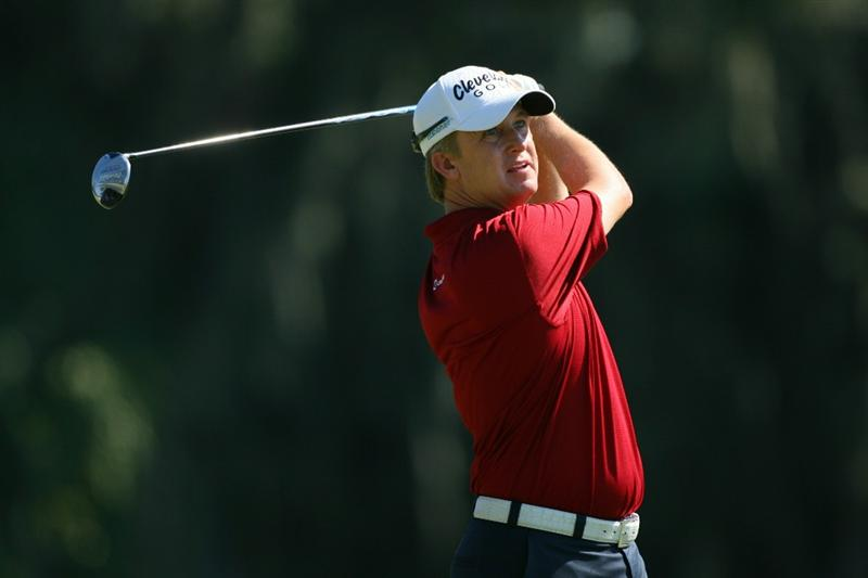 SEA ISLAND, GA - OCTOBER 9: David Toms watches his tee shot on the fourth hole during the third round of the McGladrey Classic at Sea Island's Seaside Course on October 9, 2010 in Sea Island, Georgia. (Photo by Hunter Martin/Getty Images)