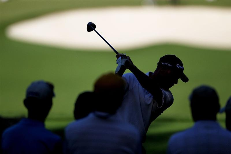 AUGUSTA, GA - APRIL 06:  Nathan Green of Australia hits a tee shot while fans look on during a practice round prior to the 2010 Masters Tournament at Augusta National Golf Club on April 6, 2010 in Augusta, Georgia.  (Photo by Jamie Squire/Getty Images)