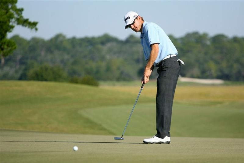 SEA ISLAND, GA - OCTOBER 8: Heath Slocum putts for birdie on the eighth hole during the second round of the McGladrey Classic at Sea Island Resort's Seaside Course on October 8, 2010 in Sea Island, Georgia. (Photo by Hunter Martin/Getty Images)