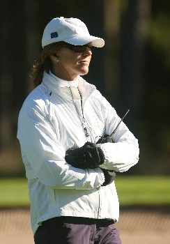HALMSTAD, SWEDEN - SEPTEMBER 13:  European Team Captain Helen Alfredsson watches the play during practice prior to the start of the Solheim Cup at Halmstad Golf Club on September 13, 2007 in Halmstad, Sweden.  (Photo by Scott Halleran/Getty Images)