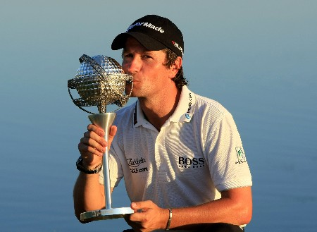 VILAMOURA, PORTUGAL - OCTOBER 21:  Steve Webster of England poses with the trophy after winning the Portugal Masters at Oceanico Victoria Clube de Golfe on October 21, 2007 in Vilamoura, Portugal.  (Photo by Richard Heathcote/Getty Images)