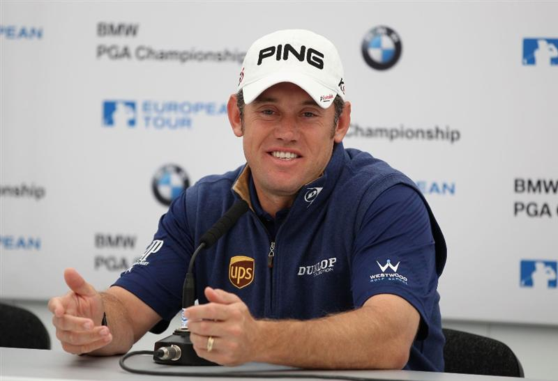 VIRGINIA WATER, ENGLAND - MAY 25:  Lee Westwood of England attends a press conference during the Pro-Am round prior to the BMW PGA Championship at Wentworth Club on May 25, 2011 in Virginia Water, England.  (Photo by Richard Heathcote/Getty Images)
