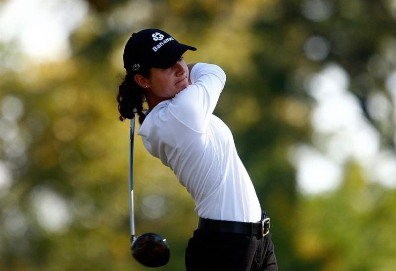 RICHMOND, TX - NOVEMBER 23:  Lorena Ochoa of Mexico hits her tee shot on the 11th hole during the final round of the LPGA Tour Championship presented by Rolex at the Houstonian Golf and Country Club on November 23, 2009 in Richmond, Texas.  (Photo by Scott Halleran/Getty Images)