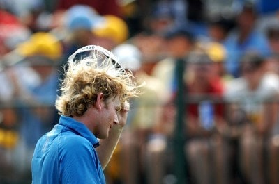 Brandt Snedeker acknowledges the gallery after completing his round on the 18th green during the final round of the Wyndham Championship at Forest Oaks Country Club on August 19, 2007 in Greensboro, North Carolina. PGA TOUR - 2007 Wyndham Championship - Final RoundPhoto by Jonathan Ernst/WireImage.com