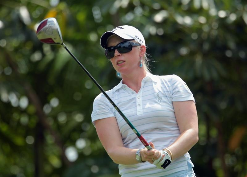 SINGAPORE - FEBRUARY 27:  Morgan Pressel of Australia watches her tee shot on the seventh hole during the final round of the HSBC Women's Champions 2011 at the Tanah Merah Country Club on February 27, 2011 in Singapore, Singapore.  (Photo by Scott Halleran/Getty Images)