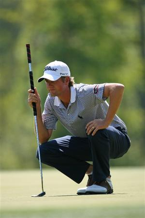 HUMBLE, TX - APRIL 1: Webb Simpson lines up his par putt on the 7th hole during the first round of the Shell Houston Open at Redstone Golf Club on April 1, 2010 in Humble, Texas. (Photo by Hunter Martin/Getty Images)