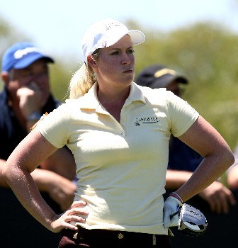 PERTH, AUSTRALIA - DECEMBER 08:  Brittany Lincicome of Team International reacts after teeing off during day two of the Lexus Cup 2007 at the The Vines Resort & Country Club December 8, 2007 in Perth, Australia.  (Photo by Paul Kane/Getty Images)