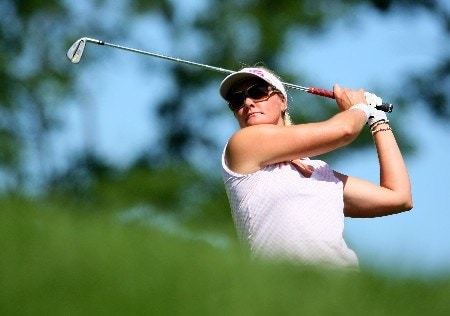 NEW ROCHELLE, NY - JULY 21:  Maria Hjorth of Sweden tee's off at the 14th during round three of the HSBC Women's World Match Play Championship at Wykagyl County Club on July 21, 2007 in New Rochelle, New York.  (Photo by Richard Heathcote/Getty Images)