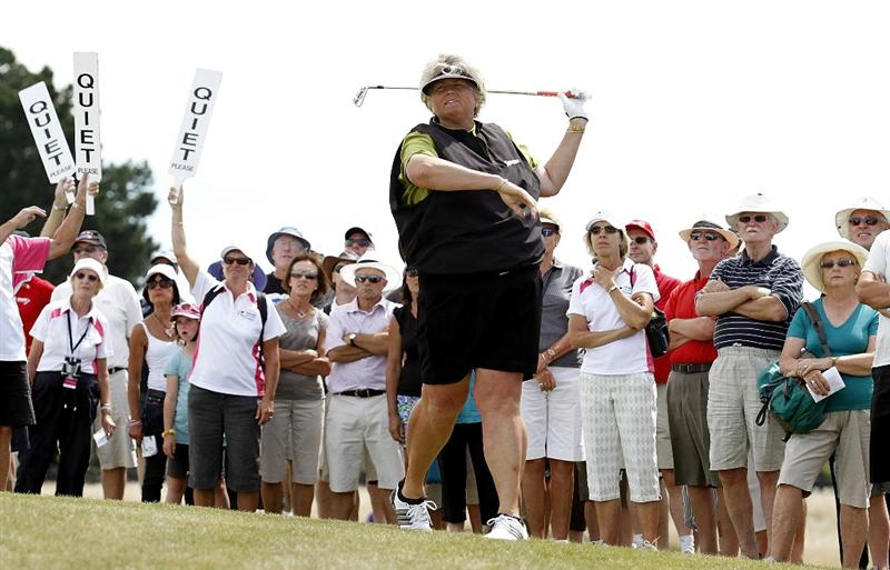 PEGASUS, NEW ZEALAND - FEBRUARY 28:  Laura Davies of England plays an approach shot during the final round of the New Zealand Women's Open at Pegasus Golf Course on February 28, 2010 in Pegasus, New Zealand.  (Photo by Martin Hunter/Getty Images)