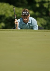 Lee Janzen lines up a putt on the 2nd hole during the first round of the AT&T Classic held at TPC Sugarloaf in Duluth, GA on May 17, 2007. PGA TOUR - 2007 AT&T Classic - First RoundPhoto by Mike Ehrmann/WireImage.com