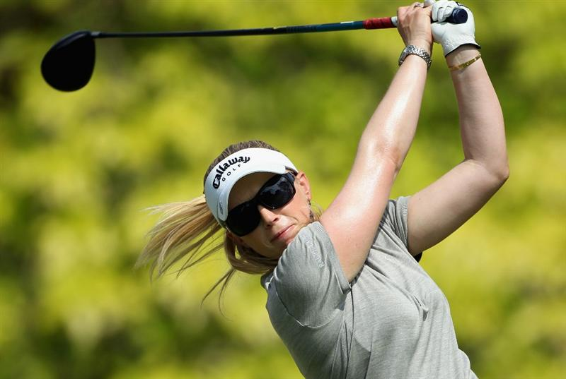 SINGAPORE - FEBRUARY 24:  Morgan Pressel of the USA hits her tee-shot on the sixth hole during the first round of the HSBC Women's Champions at the Tanah Merah Country Club on February 24, 2011 in Singapore.  (Photo by Andrew Redington/Getty Images)
