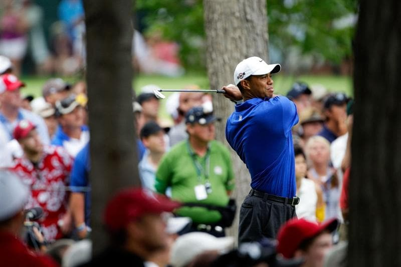 CHASKA, MN - AUGUST 15:  Tiger Woods watches his tee shot on the 13th hole during the third round of the 91st PGA Championship at Hazeltine National Golf Club on August 15, 2009 in Chaska, Minnesota.  (Photo by Jamie Squire/Getty Images)
