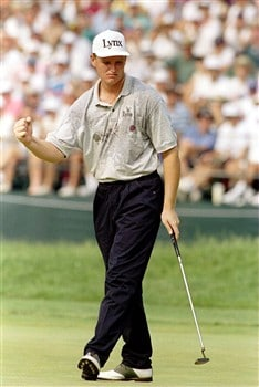 18 Jun 1994: ERNIE ELS OF SOUTH AFRICA CELEBRATES HIS BIRDIE ON THE 18TH HOLE TAKING HIM TO 7 UNDER-PAR DURING THE 3RD ROUND OF THE U.S. OPEN CHAMPIONSHIP AT OAKMONT COUNTRY CLUB IN OAKMONT, PENNSYLVANIA. ELS FINISHED THE DAY LEADING THE OPEN WITH A 5 UND