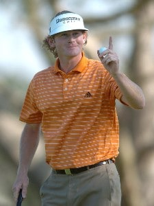 Brandt Snedeker reacts to the cheers of the gallery on the 15th green on the South Course during the second round of the 2007 Buick Invitational at Torrey Pines Golf Course in La Jolla, California on January 26, 2007. PGA TOUR - 2007 Buick Invitational - Second RoundPhoto by Steve Grayson/WireImage.com