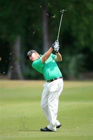 NEW ORLEANS, LA - APRIL 30: Tommy Gainey hits his second shot on the 10th hole during the third round of the Zurich Classic at the TPC Louisiana on April 30, 2011 in New Orleans, Louisiana. (Photo by Hunter Martin/Getty Images)