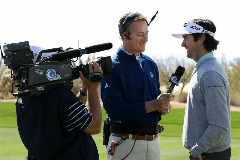 MARANA, AZ - FEBRUARY 25:  Bubba Watson (R) is interviewed by Rich Lerner of the Golf Channel after winning his match on the 14th hole during the third round of the Accenture Match Play Championship at the Ritz-Carlton Golf Club on February 25, 2011 in Marana, Arizona.  (Photo by Sam Greenwood/Getty Images)