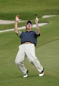 Rich Beem reacts to a near miss on #10 in the third round of the Ford Championship at Doral held on the Blue Course at Doral Golf Resort and Spa, in Doral, Florida, on March 4, 2006.Photo by: Chris Condon/PGA TOUR