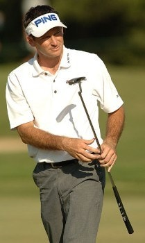 Mark Wilson follows through on a putt on the 16th green during the final round of the 2005 Valero Texas Open at La Cantera in at La Cantera Country Club in San Antonio, Texas September 25, 2005.Photo by Steve Grayson/WireImage.com
