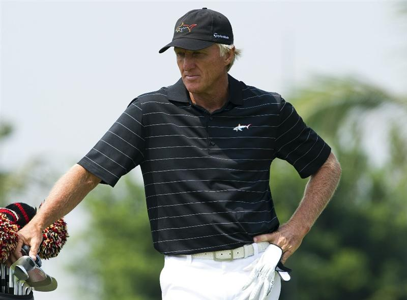 HAIKOU, CHINA - OCTOBER 30:  Golf legend Greg Norman of Australia stands on the 6th hole during day four of the Mission Hills Start Trophy tournament at Mission Hills Resort on October 30, 2010 in Haikou, China. The Mission Hills Star Trophy is Asia's leading leisure liflestyle event and features Hollywood celebrities and international golf stars.  (Photo by Victor Fraile/Getty Images for Mission Hills)