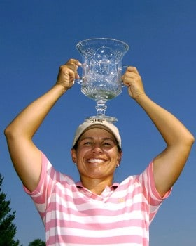 Winner Heather Bowie holds the champion's trophy after the final round of the Jamie Farr Owens Corning Classic July 10, 2005.  Bowie won the tournament in a three-hole playoff.Photo by Al Messerschmidt/WireImage.com