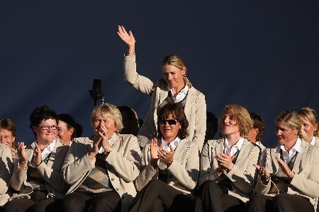 HALMSTAD, SWEDEN - SEPTEMBER 13:  Annika Sorenstam of Europe waves to the crowd during the Opening Ceremony in the town square prior to the start of the Solheim Cup at on September 13, 2007 in Halmstad, Sweden.  (Photo by Andy Lyons/Getty Images)
