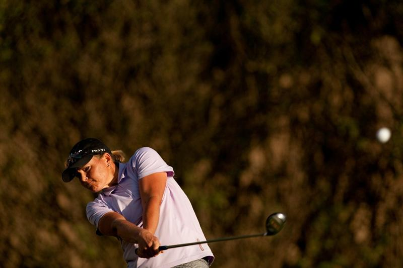 DANVILLE, CA - OCTOBER 14: Katherine Hull of Australia follows through on a tee shot during the first round of the CVS/Pharmacy LPGA Challenge at Blackhawk Country Club on October 14, 2010 in Danville, California. (Photo by Darren Carroll/Getty Images)