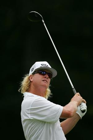 SILVIS, IL - JULY 12:  Charley Hoffman of the USA watches his drive on the 13th hole during the final round of the John Deere Classic at TPC Deere Run held on July 12, 2009 in Silvis, Illinois.  (Photo by Michael Cohen/Getty Images)