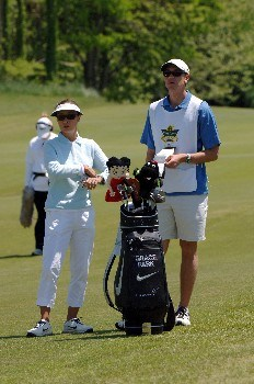 Grace Park checks yardage before a fairway shot during the final round of  the 2005 Franklin American Mortgage Championship  May 1, 2005 in Franklin, Tn.Photo by Al Messerschmidt/WireImage.com