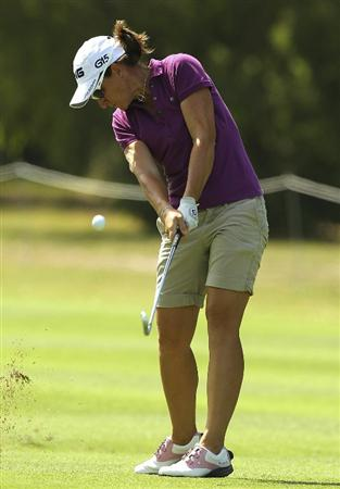 MELBOURNE, AUSTRALIA - FEBRUARY 03:  Gwladys Nocera of France plays a shot during day one of the Women's Australian Open at The Commonwealth Golf Club on February 3, 2011 in Melbourne, Australia.  (Photo by Lucas Dawson/Getty Images)