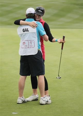 CITY OF INDUSTRY, CA - MARCH 27:  Sandra Gal of Germany celebrates with her caddie Roy Ston on the 18th green after winning the Kia Classic on March 27, 2011 at the Industry Hills Golf Club in the City of Industry, California.  (Photo by Scott Halleran/Getty Images)