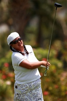 AVENTURA, FL - APRIL 26:  Christina Kim follows her drive on the ninth hole during the third round of the Stanford International Pro-Am at Fairmont Turnberry Isle Resort & Club on April 26, 2008 in Aventura, Florida.  (Photo by Doug Benc/Getty Images)