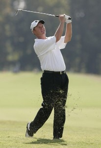 Joe Durant hits his approach shot on the 18th hole during the fourth and final round of the Southern Farm Bureau Classic at Annandale Golf Club in Madison, Mississippi, on October 1, 2006. Photo by Hunter Martin/WireImage.com