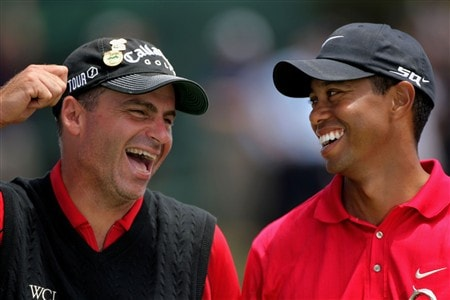 SAN DIEGO - JUNE 16:  Tiger Woods (R), champion, and Rocco Mediate (L), runner up, share a moment on the 18th green during the trophy presentation after the playoff round of the 108th U.S. Open at the Torrey Pines Golf Course (South Course) on June 16, 2008 in San Diego, California.  (Photo by Doug Pensinger/Getty Images)