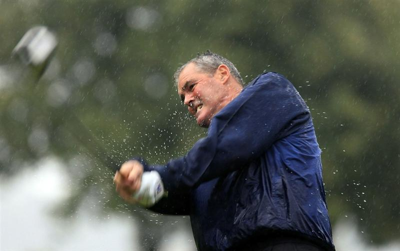 CATANIA, ITALY - OCTOBER 22:  Mike Clayton of Australia in action during the first round of the Sicilian Senior Open played at Il Picciolo Golf Club on October 22, 2010 in Catania, Italy.  (Photo by Phil Inglis/Getty Images)