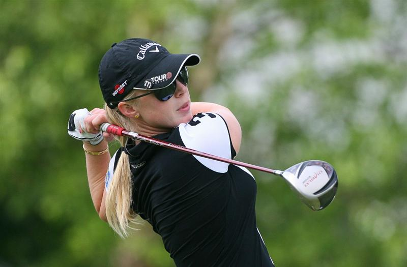 GLADSTONE, NJ - MAY 22: Morgan Pressel hits her tee shot on the 10th hole during the third round of the Sybase Match Play Championship at Hamilton Farm Golf Club on May 22, 2010 in Gladstone, New Jersey. (Photo by Hunter Martin/Getty Images)