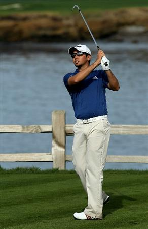 PEBBLE BEACH, CA - FEBRUARY 11:  Jason Day hits his tee shot on the seventh hole during the first round of the AT&T Pebble Beach National Pro-Am at Pebble Beach Golf Links on February 11, 2010 in Pebble Beach, California.  (Photo by Stephen Dunn/Getty Images)