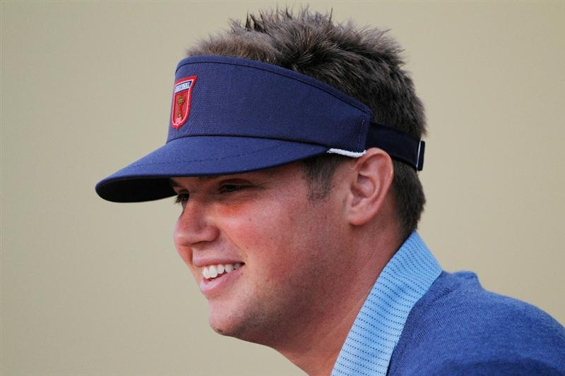 NEWPORT, WALES - SEPTEMBER 29:  Jeff Overton of the USA answers questions from the media at a press conference during a practice round prior to the 2010 Ryder Cup at the Celtic Manor Resort on September 29, 2010 in Newport, Wales.  (Photo by Sam Greenwood/Getty Images)