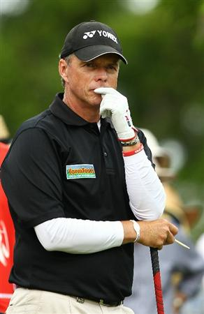 PERTH, AUSTRALIA - NOVEMBER 21:  Gary Wolstenhome of England looks on during day three of the 2010 Australian Senior Open at Royal Perth Golf Club on November 21, 2010 in Perth, Australia.  (Photo by Paul Kane/Getty Images)