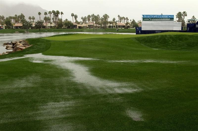 LA QUINTA, CA - JANUARY 21:  A view of course conditions on 18th hole of the Palmer Private Course at PGA West before the rain delayed second round of the Bob Hope Classic on January 21, 2010 in La Quinta, California.  (Photo by Stephen Dunn/Getty Images)