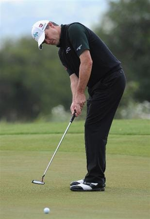 RAGUSA, ITALY - MARCH 20:  Paul Lawrie of Scotland putting on the fourth hole during the final round of the Sicilian Open at the Donnafugata golf resort and spa on March 20, 2011 in Ragusa, Italy.  (Photo by Stuart Franklin/Getty Images)