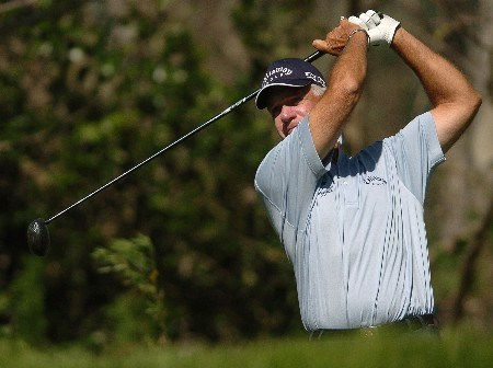 Bruce Fleisher tees off on the 4th hole during the first round of the Champions' Tour 2005 SBC Classic at the Valencia Country Club in Valencia, California March 11, 2005.