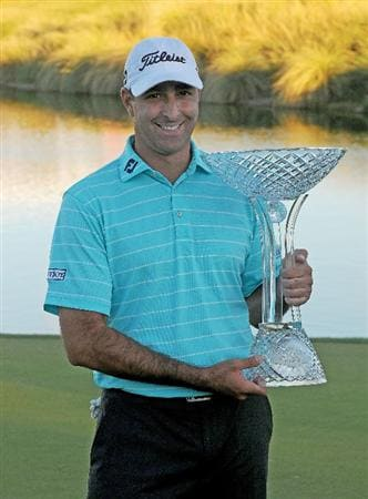 LAS VEGAS- OCTOBER 19:  Marc Turnesa  with the winners trophy at  the Justin Timberlake Shriners Hospitals for Children Open held at the TPC Summerlin on Sunday, October 19, 2008 in Las Vegas, Nevada.  (Photo by Marc Feldman/Getty Images)