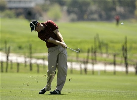 LIVERMORE, CA - APRIL 03:   Greg Owen of England hits the ball on the 9th fairway during the first round of the 2008 Livermore Valley Wine Country Championship on April 03, 2008 at the Wente Vineyard in Livermore, California. Owens finished the round 6-under par in first place. (Photo By Kent Horner/ Getty Images)