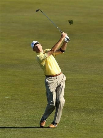 PEBBLE BEACH, CA - FEBRUARY 11:  Jim Furyk hits his approach shot on the 12th hole during the second round of the AT&T Pebble Beach National Pro-Am at Monterey Peninsula Country Club on February 11, 2011 in Pebble Beach, California.  (Photo by Ezra Shaw/Getty Images)